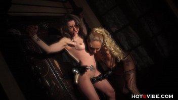 Hot MILF Dominatrix in Latex Punishes Slave