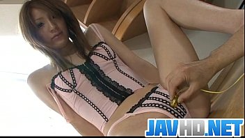 Lustful Japanese babe gets busy with a stiff toy