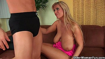 Gilf Adele with her big boobs strips off and gets fucked