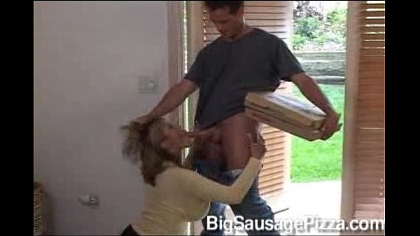 Ava Devine With A pizza delivery boy