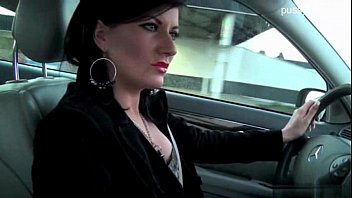 Woman shows panties & gives handjob while driving