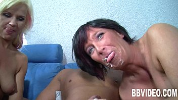 Two milfs suck and fuck a hard dick 8 min