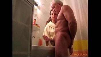 Granddaughter help her grand father cum shoot