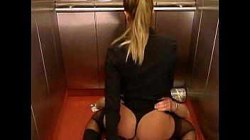 German Blonde very hot fucking in the elevator