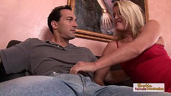 Hot blonde housewife deepthroats dick and gets fucked
