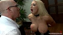 Bondage blonde babe with very big tits gives oral