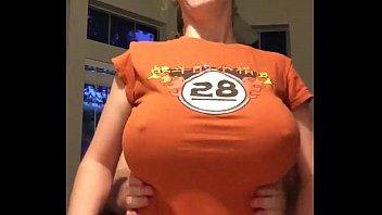 nerd with big tits orange shirt