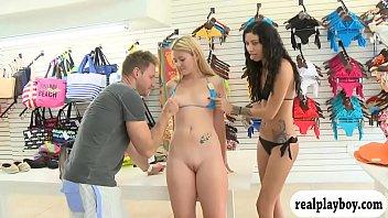Blonde convinced to wear bikini for cash