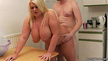 He licks and fucks chubby big tits blonde