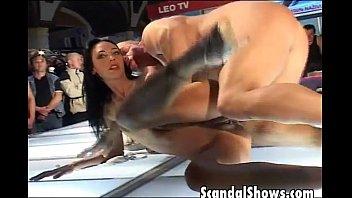 Brunette slut fucking a horny dude