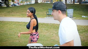 TheRealWorkout - Curvy Ebony (Brittany White) Rides White Cock After Workout
