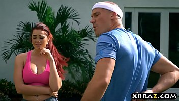 Big tits redhead blows and fucks boyfriends friend