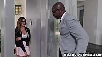 Interacial spex schoolgirl wet pussy drilled