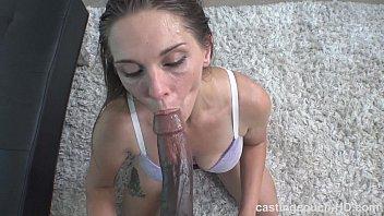Seriously nasty white chick sucks HUGE black dick