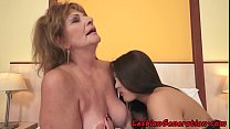 Busty babe fingering mature lady 6 min