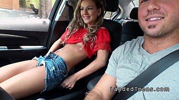 Blonde stranded teen sucking cock in car