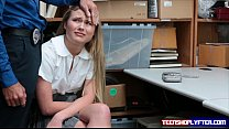 Teen Alyssa Cole is a little thief caught red handed and pay the price 6 min