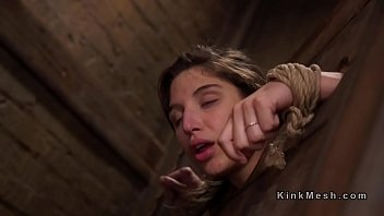 Bound in wooden device slave anal banged