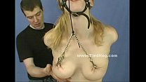 Blonde hanged and with face bound