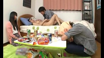 Japanese schoolgirl with perfect tits fucking a friend while her boyfriend s.