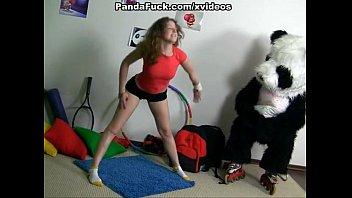 Sporty sexy teen fucks with funny Panda 6 min