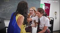 Three naughty teen schoolgirls make out in the classroom