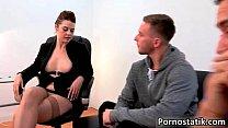 Horny office girl Karina is rubbing