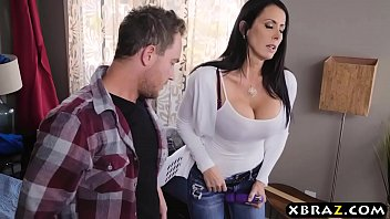 Stepmom with big tits fucks stepson while dad is downstairs 7 min