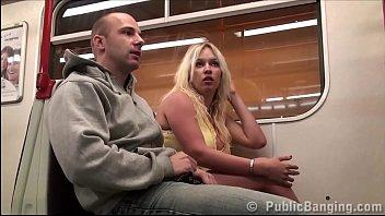 Big tits model Stella Fox public subway gang bang threesome orgy
