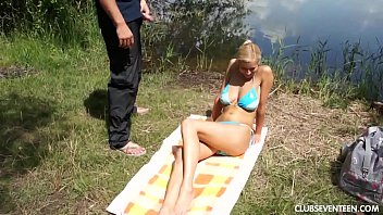 Busty teen babe gets pounded outdoors