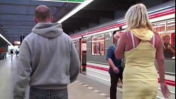 A hot blonde with big tits public sex subway train gang bang threesome orgy