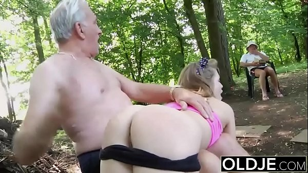 Naughty Teen Ass Spanking by Grandpa And Kiss Fucked with cumshot swallow