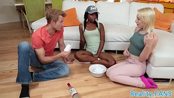 Ebony teenie butt pounded in a threesome