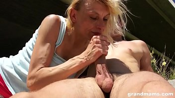 Skinny old blonde bitch fucked outdoor by young stud on GrandMams.com