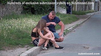 Struggling Babe Sarah Kay street pickup gagged subb'ed fuckd