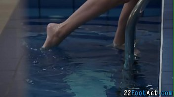 Blonde babes feet cumshot