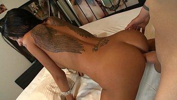 Sexy brunette Raven Bay has her ass jizzed