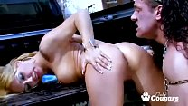 Ginger Hell Has Her Pussy Nailed In The Bed Of A Truck