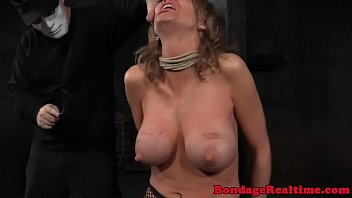 Breast bonded sub bigtits caned by maledom