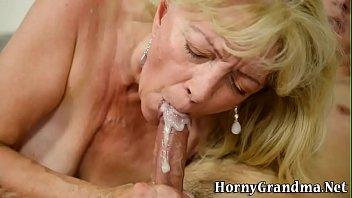 Granny dribbles over cock