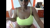 Busty ebony girl masturbating pussy on webcam