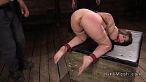 Natural busty slave anal fucked in dungeon