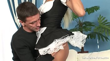 Beauty in black stockings is sucking and riding
