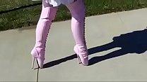 Best Mom Flashing in Pink Ballet Boots. See pt2 at goddessheelsonline.co.uk