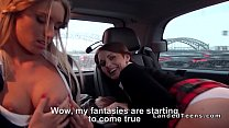 Two schoolgirls fucking in car