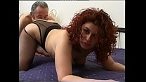 Shameless curly redhead gets fucked in front of a camera