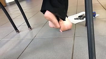 Candid Bare Feet in Classroom Part 1- www.prettyfeetvideo.com