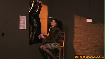 CFNM babes jerking and blowing sub guy