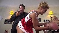 Stunning blonde in lingerie in public