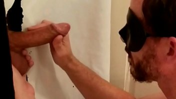 Hung uncut bi guy stopped by my gloryhole for oral service